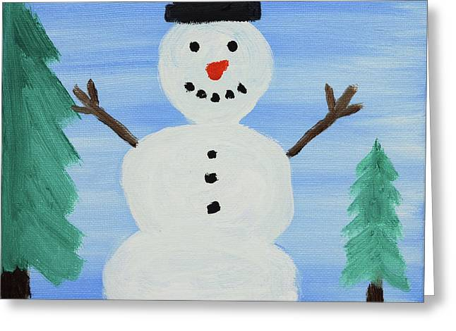 Snowman Greeting Card by Anthony LaRocca