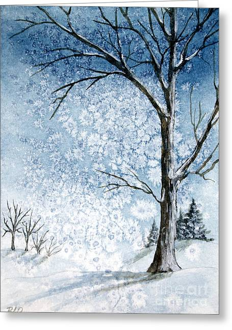 Snowy Night Greeting Card by Rebecca Davis