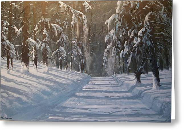 Greeting Card featuring the painting Snowy Road by Ken Ahlering