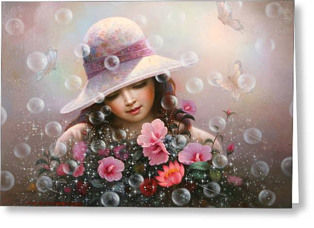 Soap Bubble Girl - Rose Sharon Of Song Greeting Card