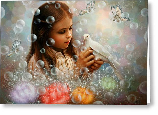 Soap Bubble Girl Greeting Card