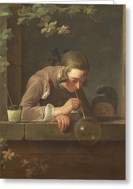Soap Bubbles Greeting Card by Jean-Baptiste-Simeon Chardin