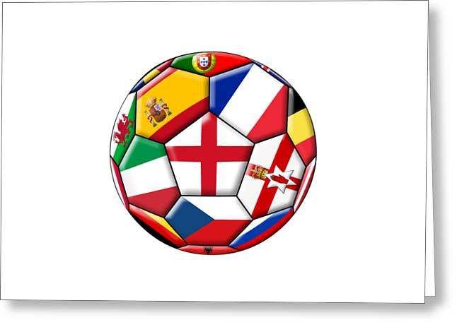 Soccer Ball With Flag Of England In The Center Greeting Card