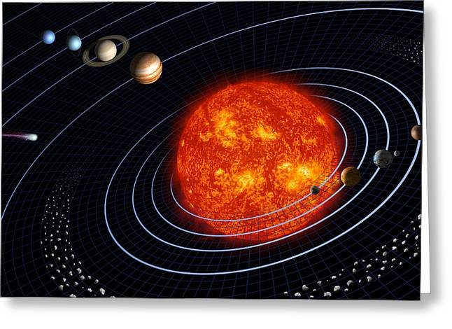 Asteroids Greeting Cards - Solar System Greeting Card by Stocktrek Images