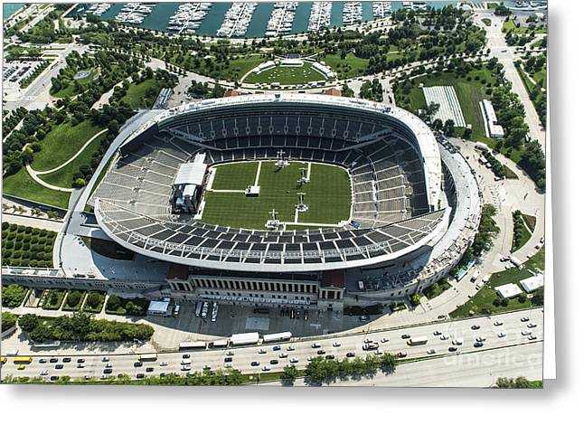 Soldier Field Stadium In Chicago Aerial Photo Greeting Card