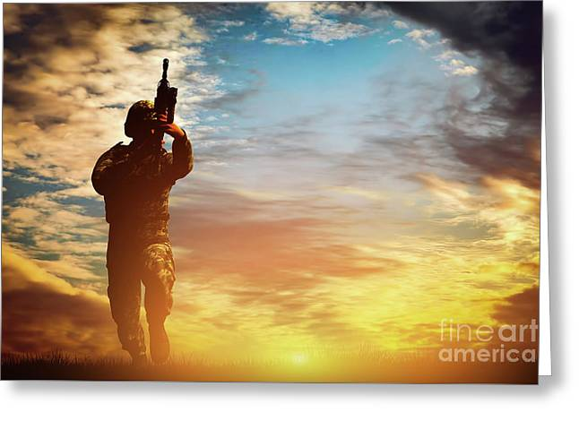 Soldier In Combat Shooting With His Weapon, Rifle. War, Army Concept Greeting Card by Michal Bednarek