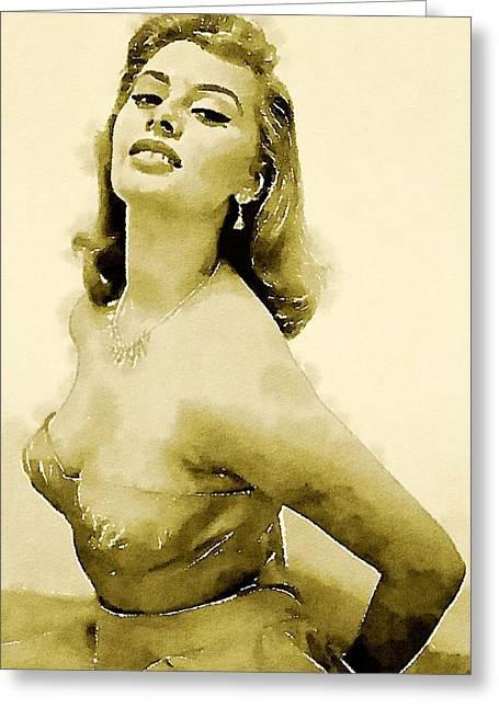 Sophia Loren By John Springfield Greeting Card by John Springfield