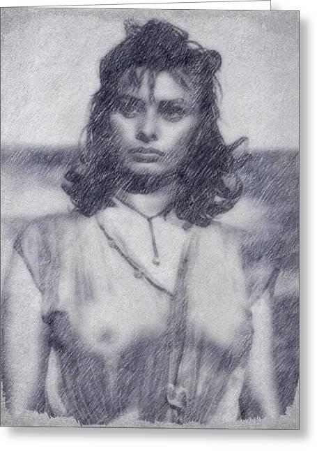 Sophia Loren Greeting Card by John Springfield