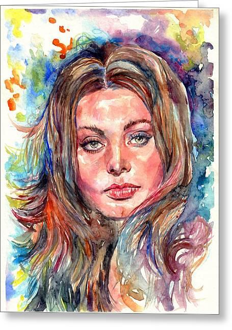 Sophia Loren Painting Greeting Card