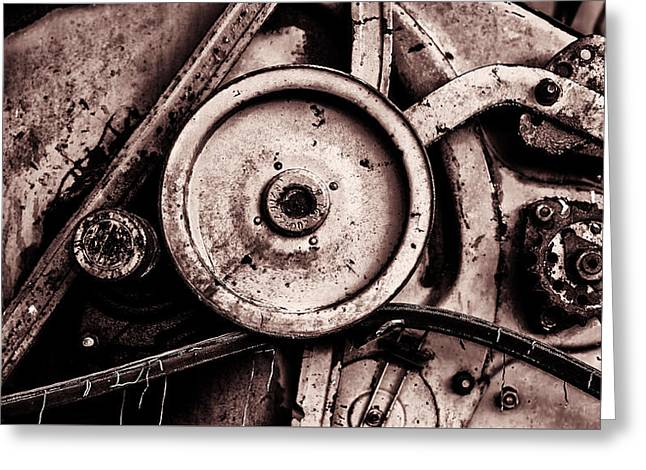 Soviet Ussr Combine Harvester Abstract Cogs In Monochrome Greeting Card