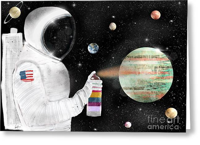 Greeting Card featuring the painting Space Graffiti by Bri B