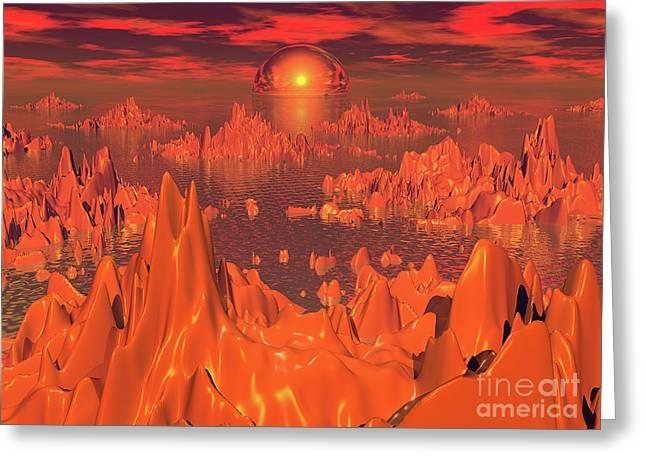 Space Islands Of Orange Greeting Card