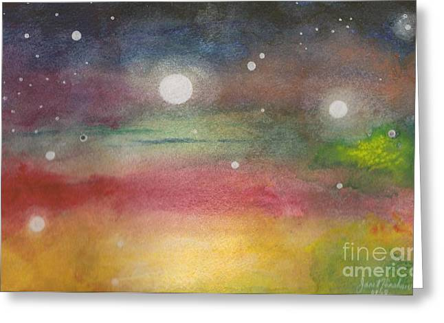 Space Rainbow Greeting Card by Janet Hinshaw