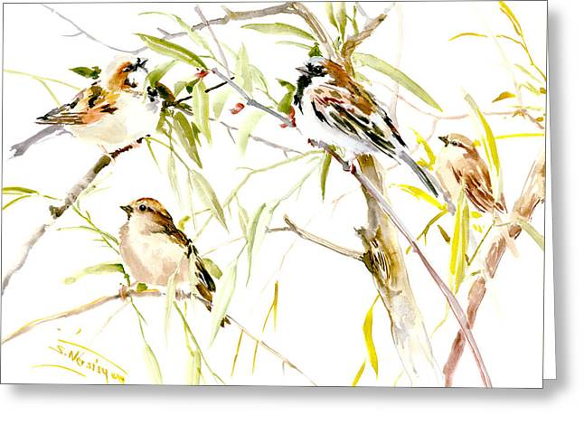 Sparrows Greeting Card by Suren Nersisyan