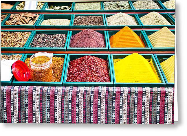 Spice Stall Greeting Card by Tom Gowanlock