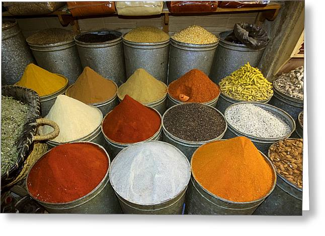 Spices For Sale In Souk, Fes, Morocco Greeting Card by Panoramic Images