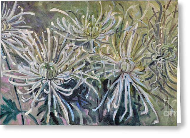 Chrysanthemum Greeting Cards - Spider Mums Greeting Card by Donald Maier