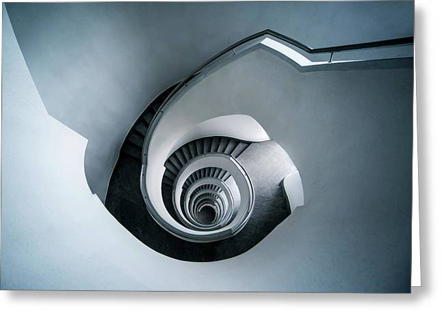 Greeting Card featuring the photograph Spiral Staircase In Blue Tones by Jaroslaw Blaminsky