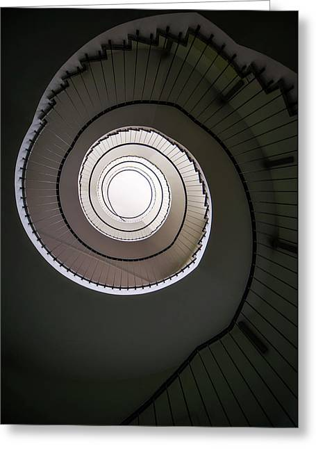 Greeting Card featuring the photograph Spiral Staircase In Brown Tones by Jaroslaw Blaminsky