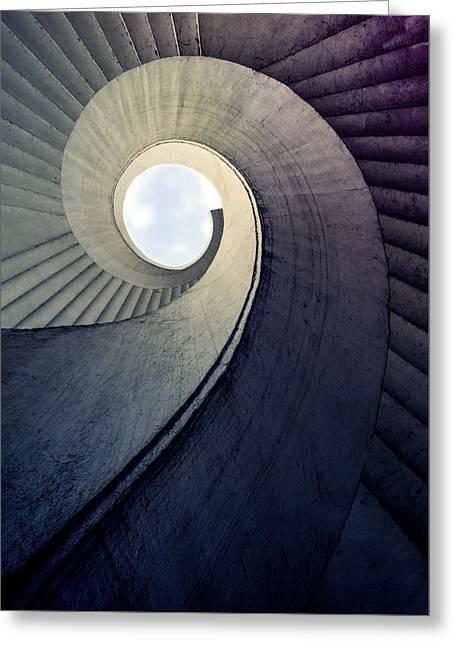 Spiral Staircase In Cold Tones Greeting Card by Jaroslaw Blaminsky