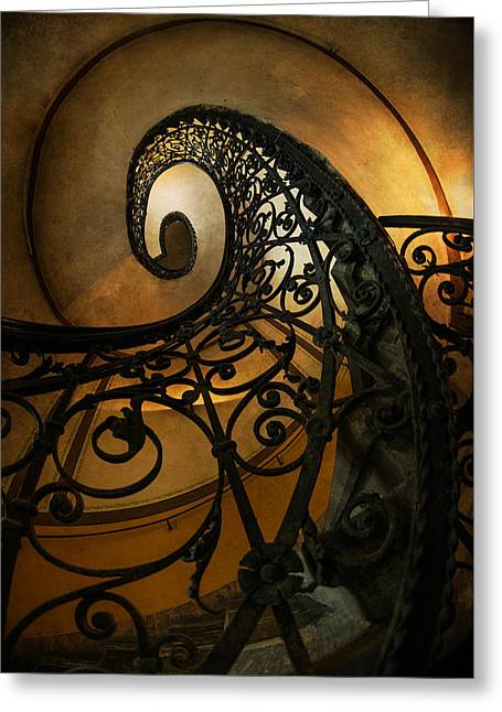 Spiral Staircase With Ornamented Handrail Greeting Card