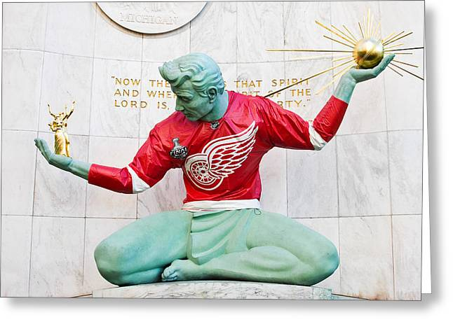 Spirit Of Detroit In Red Wing Jersey Greeting Card by James Marvin Phelps