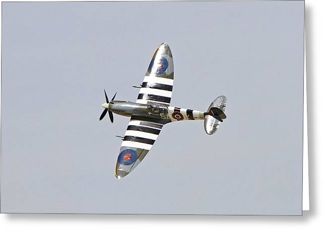 Spitfire In Flight Greeting Card by Shoal Hollingsworth