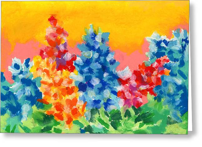Greeting Card featuring the painting Spring Wildflowers by Stephen Anderson