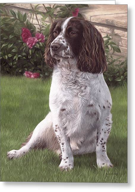 Springer Spaniel Painting Greeting Card by Rachel Stribbling