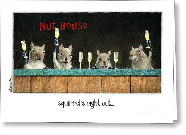 Squirrel's Night Out... Greeting Card
