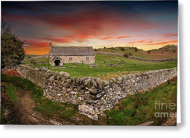 St Celynnin Church Sunset Greeting Card