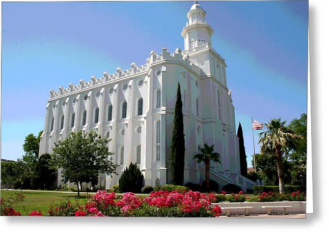 St. George Temple Greeting Cards - St George Utah Temple Greeting Card by Patricia Haynes