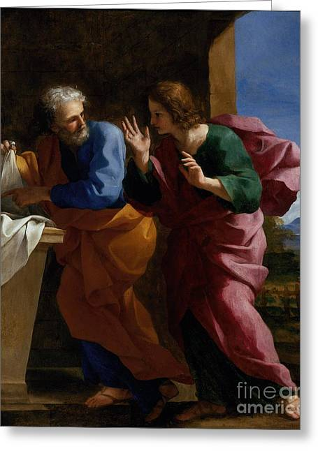 St. John And St. Peter At Christs Tomb Greeting Card by Celestial Images
