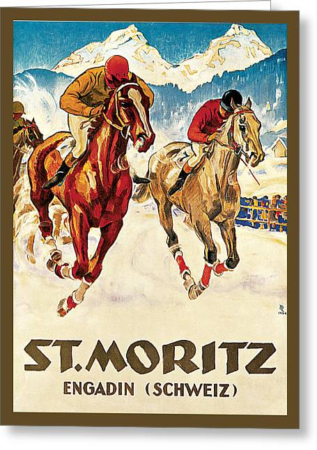St. Moritz Greeting Card by Hugo Laubi