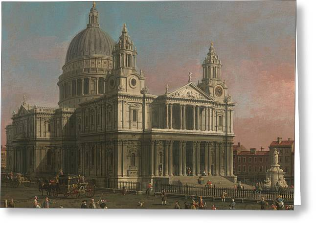 St. Paul's Cathedral Greeting Card by Canaletto
