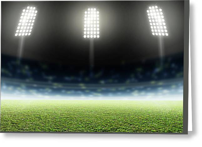 Stadium Outdoor Floodlit Greeting Card by Allan Swart