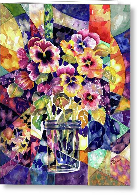 Stained Glass Pansies Greeting Card