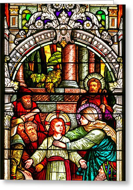 Stained Glass Scene 3 Crop Greeting Card by Adam Jewell