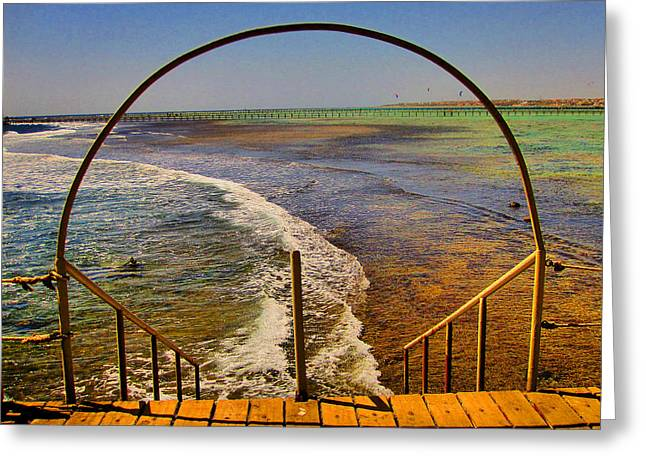 Stairway To The Sea. Sea. Rusty Iron And Corals. Greeting Card by Andy Za