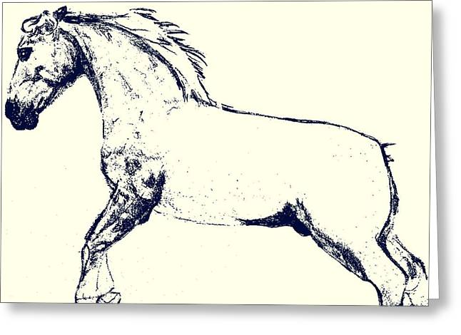 Greeting Card featuring the photograph Stallion Stencil by Dressage Design
