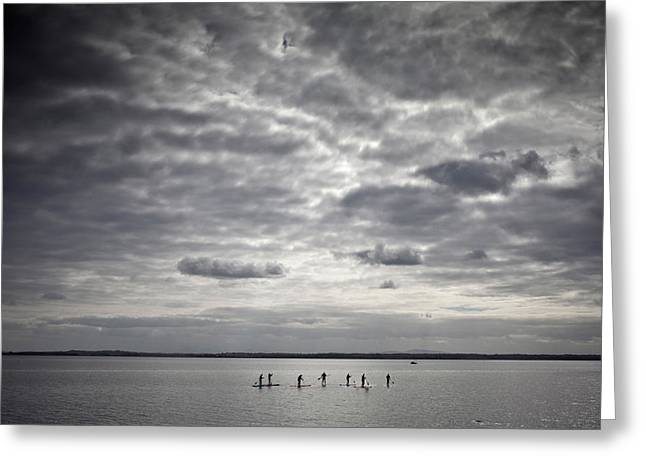 Stand-up Paddle Boarders On Strangford Greeting Card by Panoramic Images