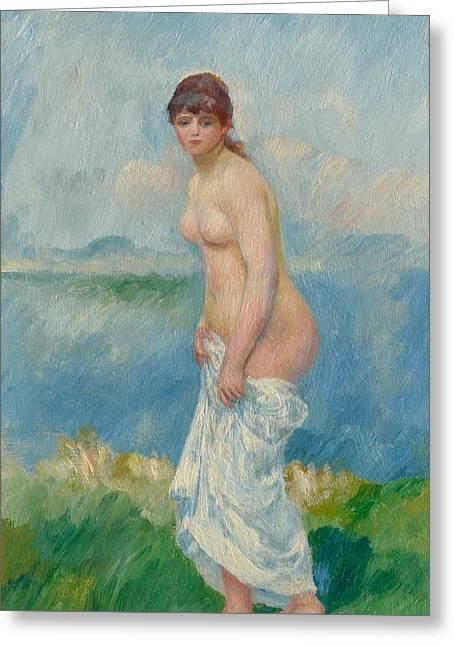 Full Body Paintings Greeting Cards - Standing Bather Greeting Card by Pierre Auguste Renoir