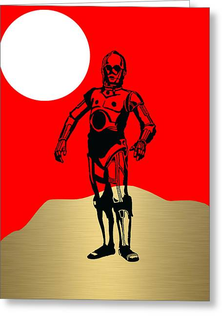 Star Wars C-3po Collection Greeting Card by Marvin Blaine