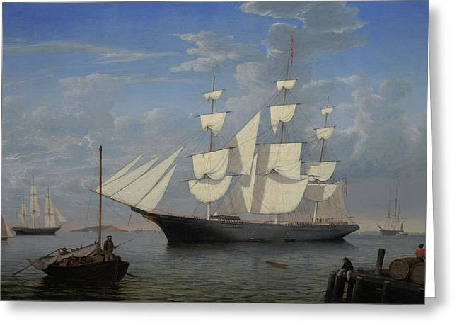 Starlight In Harbor Greeting Card by Fitz Henry Lane