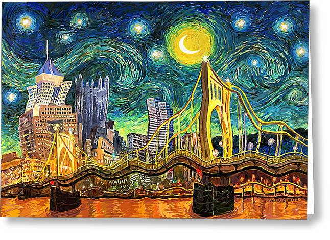Starry Night In Pittsburgh Greeting Card