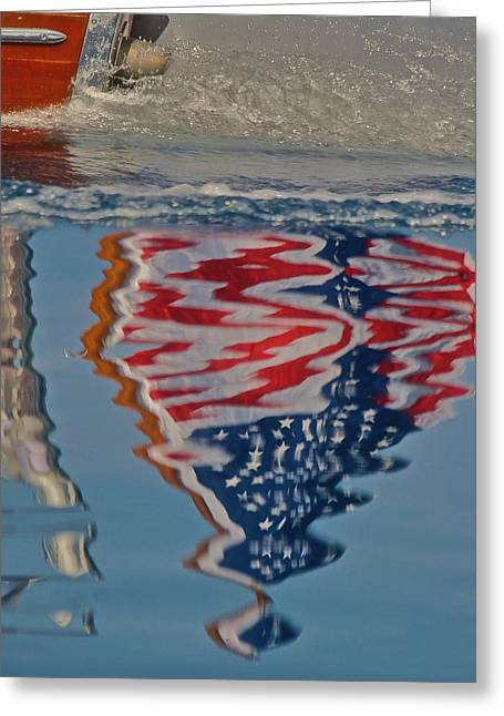 Stars And Stripes On The Water Greeting Card by Steven Lapkin