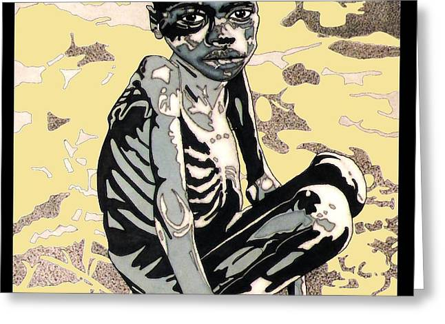 Starving African Boy Greeting Card by Gabe Art Inc