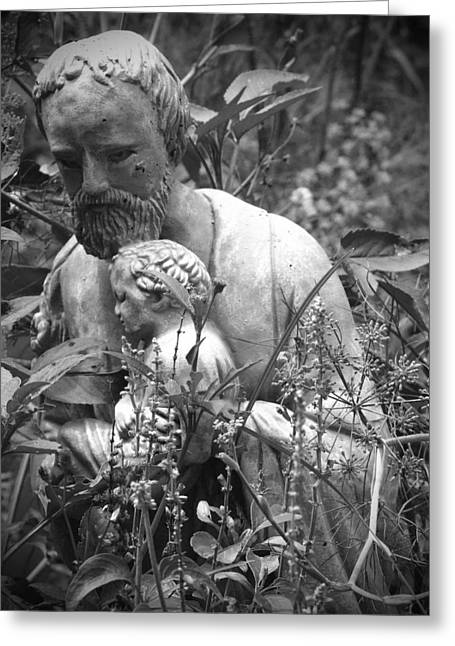 Statue In Flowers Greeting Card by Megan Verzoni