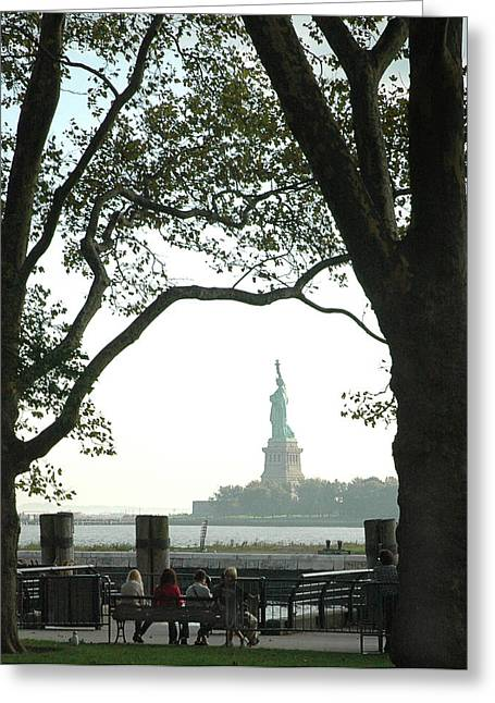 Statue Of Liberty From Ellis Island Greeting Card by Frank Mari