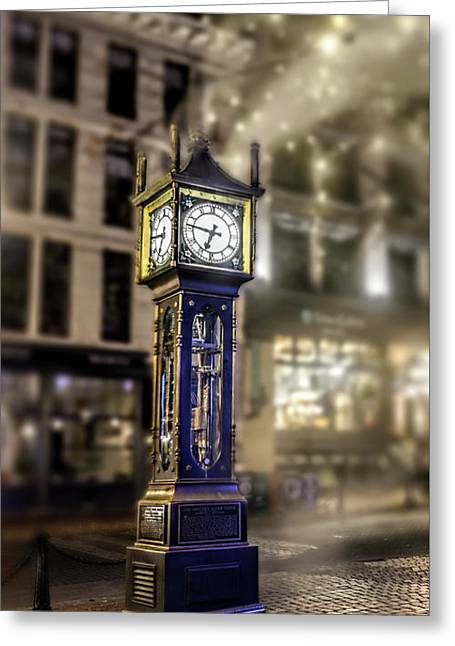 Greeting Card featuring the photograph Steam Clock by Jim  Hatch